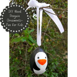 wood penguin ornament