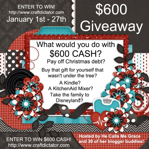 $600 Cash Giveaway!  Come over to @craftdictator to enter to win! #giveaway #cash