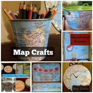 About a year ago I found an atlas at a garage sale.  We have made many great crafts this year from the maps. Enjoy!