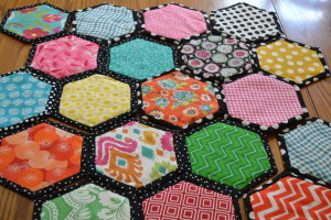 More hexies waiting to be zig-zagged.